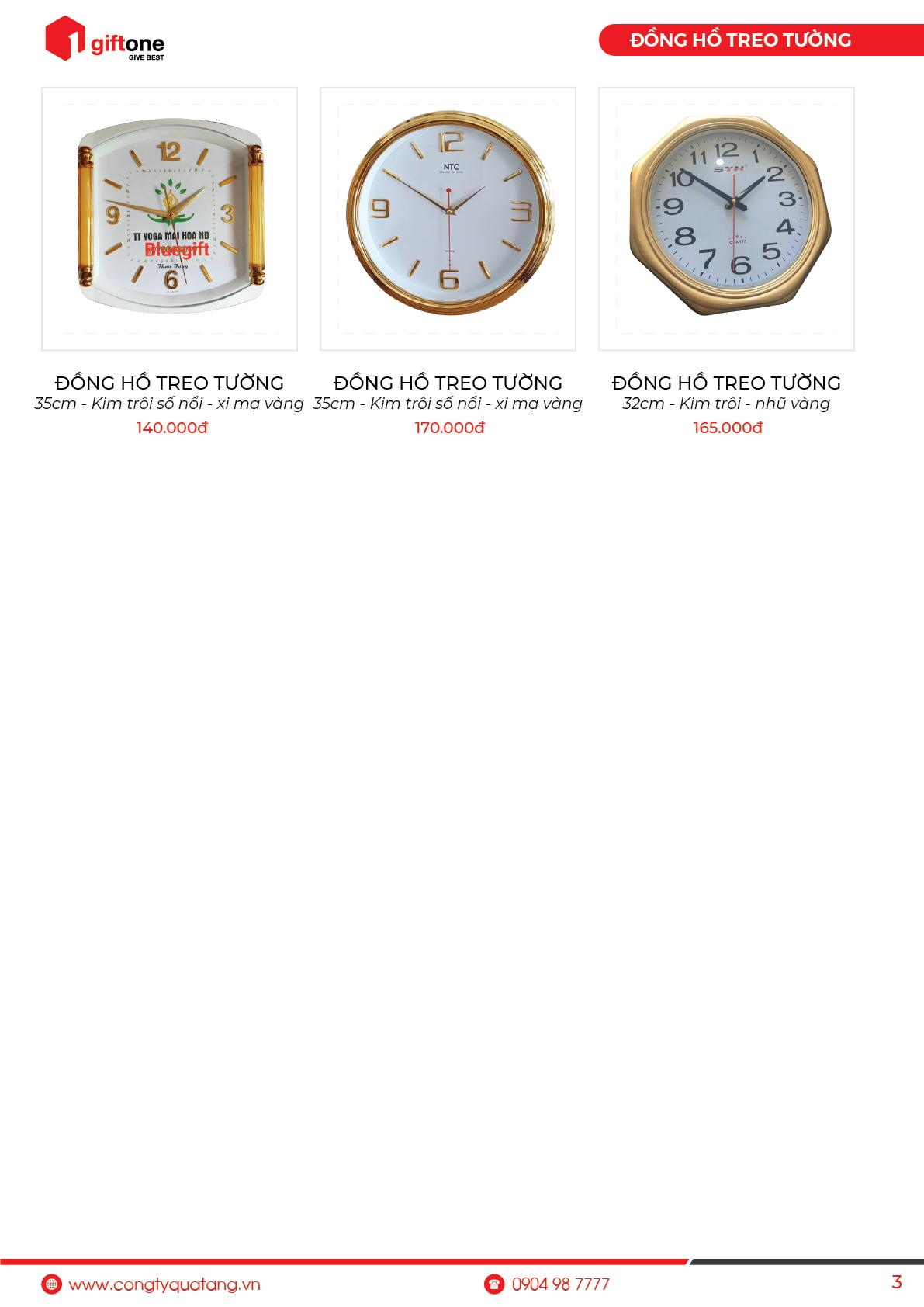 Báo giá đồng hồ treo tường